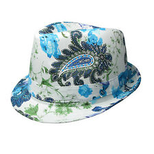 Mens UK New High Quality Colourful Floral Print Trilby Hat 39284-1