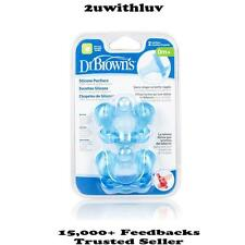 DR BROWN'S ONE PIECE SILICONE PACIFIER DUMMY BLUE PACK OF 2 BPA FREE 0 MONTHS+