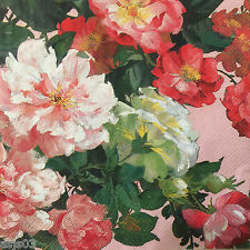 4 Paper Napkins Decoupage Rose Roses on Pink Floral Luncheon Craft Mesafina