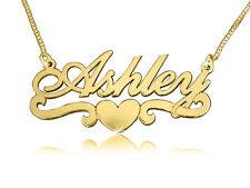 Gold Name Necklace, Gold Monogram, ORDER ANY NAME, Ashley heart style, monagram
