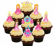 Pink Princess, 36 Edible Cup Cake Toppers, Fairy Bun Decorations Girl Birthday