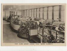 First Class Garden Lounge RMS Queen Elizabeth Vintage RP Postcard 840a