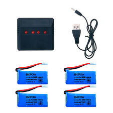 4pcs 3.7V 500mAh Lipo Battery +4 In1 Charger Cable for JJRC H31 RC ​Quadcopter