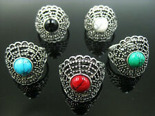 Wholesale Lot 10pcs Antique Silver Plated Exotic Fan Style Resin Turquoise Rings