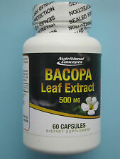 Bacopa Monniera Leaf Extract 500 mg 60 Capsules zur Erhöhung der Konzentration