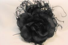 Originals, Floral Flowers Ostrich Feather Hair Clip / Brooch Pin Blacks, Browns