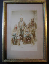 RARE - Hand Colored Albumen Photo 1880s Seneca? Indian Native Americans Portrait