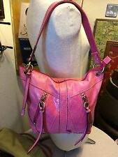 Fossil purse distressed pink leather hobo shoulder bag w studs