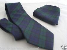 "(A) Blue/Green/Black TARTAN Necktie & Hanky-TIES-3.3""=8cm Width-P&P2UK 1st Class"