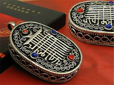 Huge Tibetan 4 Gemstone Filigree Kalachakra Ghau Prayer Box Amulet Pendant