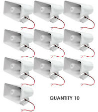 "Lot of 10 Pyle PHSP5 65W 8"" Indoor/Outdoor PA Horn Speaker W/ Hardware White"
