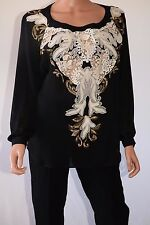 Haute Hippie Black Applique Front Keyhole Back Long Sleeve Blouse