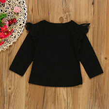 Newborn Infant Baby Girls Lace Flying Long Sleeve T-Shirt Tops Clothes Outfits