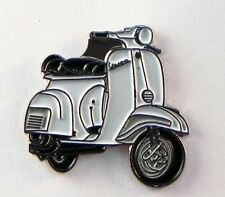 Metal Enamel Pin Badge Brooch Vespa Scooter Motorbike Biker Rider White