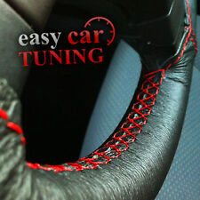 FOR NEW NISSAN MICRA K12 2002-10 BLACK WITH RED ST LEATHER STEERING WHEEL COVER
