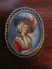 Vintage Antique Likely Victorian Era .800 Silver Signed Portrait Pin / Brooch