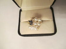 14K Gold Diamond & Sapphire &  Pearl Ring  All Genuine Stones  20 MM Wide