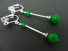 A PAIR OF DANGLY GREEN JADE BEAD  SILVER PLATED DROP CLIP ON EARRINGS.