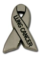Lung Cancer Awareness Pin Antiqued Pewter Gray Ribbon Cap Tac USA Support New