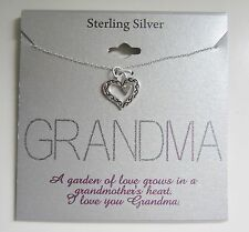 Footnotes Sterling Silver GRANDMA Heart Necklace with Inspirational Message