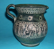 "Studio Art Pottery - Attractive Hand Made ""Greek Classics"" Illustration Jug ."