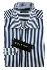 Men's VALENTINO Royal Blue Striped Extrafine Cotton Dress Shirt 15 38 S NWT $245
