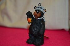 Willie Bear With Coon Cap Holding a Lantern, Christmas Ornament trap traps trapp