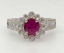.75 ct Ruby & .68 ct TW Diamond Halo Ring in 18K White Gold- HM1462