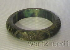 old vtg super thick chunky DEEP CARVED CREAMED SPINACH BAKELITE BANGLE tested