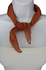 Women Fashion Neck Scarf Mocha Light Brown Small Soft Fabric Square Pocket Sheer