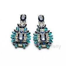 1 Paire Boucles d'Oreilles Élégante Strass Brillant Bleu-Vert Shiny Earrings