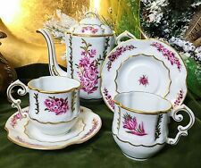 """Raspberry and Chocolate ""  Porcelain Chocolate Pot with Two Demitasse Set"