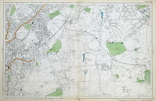 LONDON - NORWOOD , WEST WICKHAM, SHIRLEY - Antique Map - Bacon, 1912.