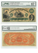 1860's $50 Note The Citizens Bank Shreveport PMG Superb Gem Unc 67 EPQ SKU39020