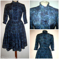 "~ PRETTY VINTAGE 1950S 50S LONG SLEEVE ABSTRACT FABRIC BELTED DRESS 30"" WAIST ~"