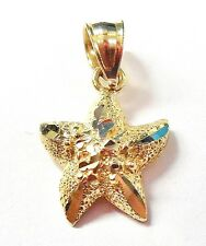 10k Yellow Gold Genuine Star / Starfish Ocean Animal Design Necklace Pendant