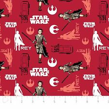 "Camelot Star Wars The Force Awakens Rey Ruby Red 100% cotton 44"" Fabric x yard"