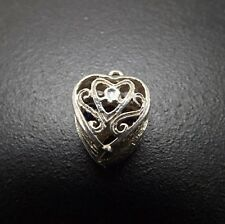Vintage Heart Movable Birthstone Keepsake Charm Sterling Silver .925 Solid 4.1 G
