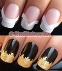 NAIL ART SET #172 x48 FRENCH MANICURE TIP POLISH GUIDES IN 3 STYLES & GOLD LEAF