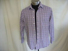 "Mens Shirt Brook Taverner M collar 16"" length 31"" purple check, pure cotton 7602"