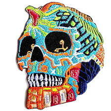 Tribal Sugar Snake Skull Day Dead Embroidered Iron On Shirt Jeans Badge Patch