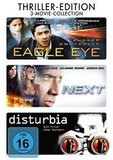THRILLER-EDITION: EAGLE EYE/NEXT/DISTURBIA 3DVD NEU NICOLAS CAGE/JULIANE MOORE