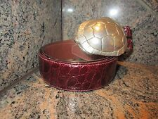 RARE!!! Huge Kieselstein Cord Silver Turtle Buckle With Burgundy Alligator Belt