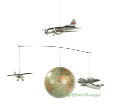 Around the World Airplane Globe Mobile Wood Hanging Aeromobile