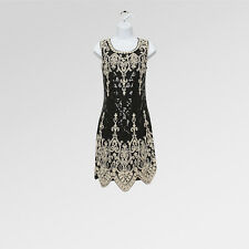 NUOVO GATSBY 20's vintage anni 1920 20 CHARLESTON Nero Paillettes Abito Da Party UK 10/11