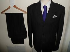 VVGC* 38R (32X32) TRUSSARDI Men's 2 Piece Black Wool Designer Suit 38R W32 L32