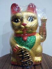 """9"""" Chinese Good Luck Gold Waving Hand Paw Up Fortune Kitty Cat ( Ceramic )"""