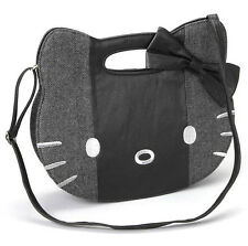 HELLO KITTY Blk PatchWork Tweed Vegan Leather Bow Top BAG CAT FAcE Purse HANDBAG