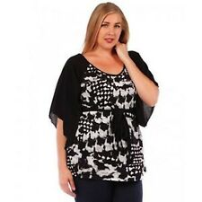 Women's Plus Size 6X Black White Short Sleeve Blouse Top Shirt