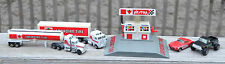 Vintage Die Cast CANADIAN TIRE PIT STOP PLAY SET Gas Pump 2 car 2 Semi 2 Trailer